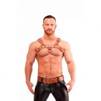 Mister B chest harness in brown saddle leather, stitched