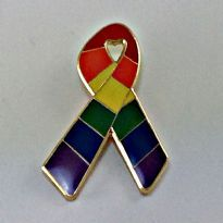 Rainbow Ribbon Pin