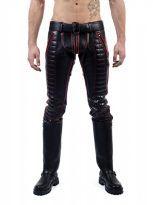 Mister B Indicator Jeans nahkahousut punaisilla tehosteilla