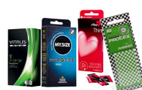 Kondomipaketit halvalla hinnalla, Kondomipakkaukset isoille ja pienille kyrville, Ohuita ja paksuja kondomeja paketissa, Edulliset kondomit anaaliseksiin