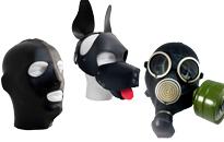 Seksikkäitä huppuja roolileikkeihin, Puppy playhin kiimaiset naamiot, Koiramaskeja koiranpennuille, Kaasunaamareita seksileikkeihin, Peitä kasvosi naamiolla