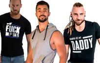 T-paitoja kuumille miehille, Tyylikkäitä paitoja kundeille, Homoille seksikkätä hihattomia