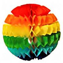 Rainbow ball in tissue paper