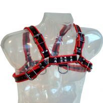 Musta harness punaisilla raidoilla