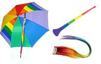 Erilaisia pride asusteita edullisesti, Suuri valikoima värikkäitä asusteita juhliin