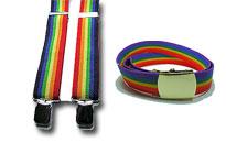 Sateenkaarivyöt ja henkselit edullisesti Prideen, Värikkäät vyöt ja henkselit homoille, Sateenkaaren värinen niittivyö